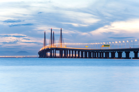 Second Penang Bridge or known as Sultan Abdul Halim Muadzam Shah bridge view during dawn