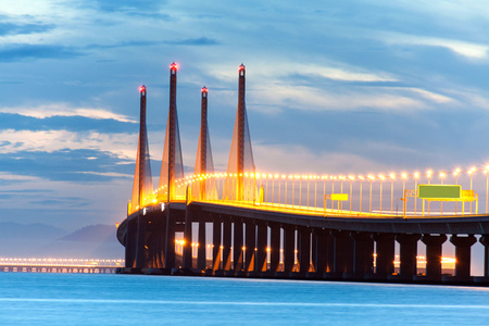 george: 2nd Penang Bridge or known as Sultan Abdul Halim Muadzam Shah bridge view during dawn