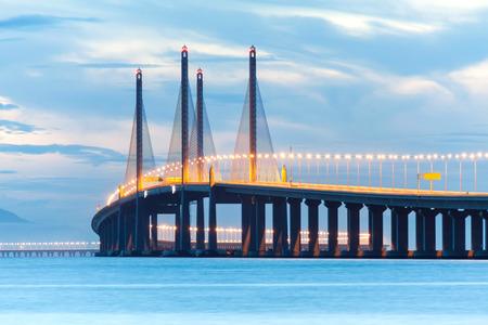Second Penang Bridge or known as Sultan Abdul Halim Muadzam Shah bridge view during dawn