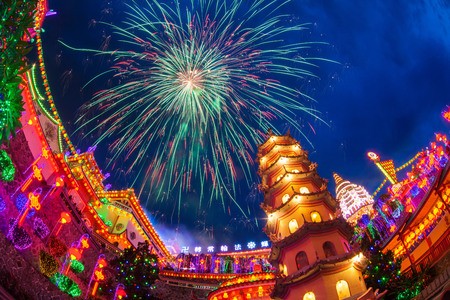 Kek Lok Si Temple light up with firework show Stock Photo