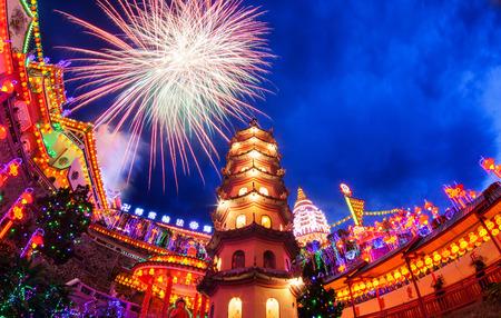 Kek Lok Si Temple light up with firework show Stock Photo