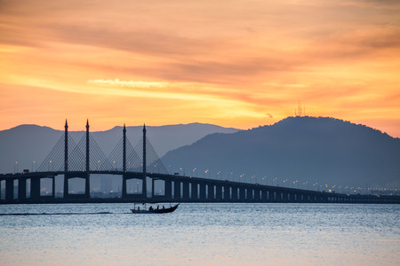 Penang Bridge view which located in the Straits of Malacca