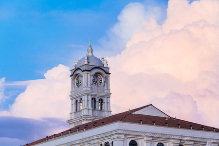 Close up view of clock tower with blue sky in George Town Penang