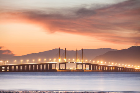 Penang Bridge view from the shore of George Town, Malaysia Banco de Imagens
