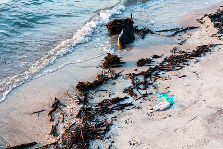 Polluted shore view for good environment awareness photo