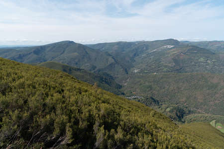 Folgoso do Courel far view from Polin peak in early autumn. Devesa da Rogueira hiking route attraction point