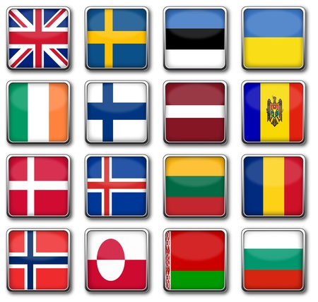 education in sweden: National flags in rectangle frame Stock Photo