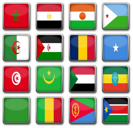 National flags in rectangle frame photo