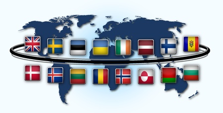 map of world with national flags photo