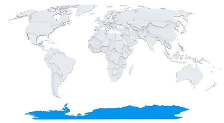 Antarctica on map of the world