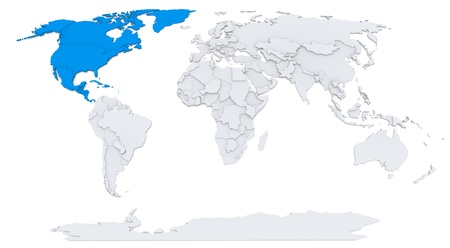 North America on map of the world Foto de archivo