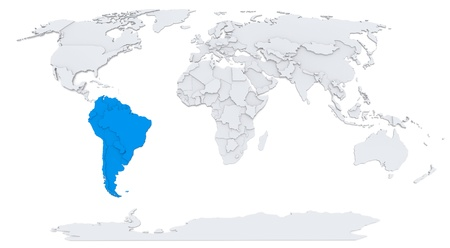 South America on map of the world