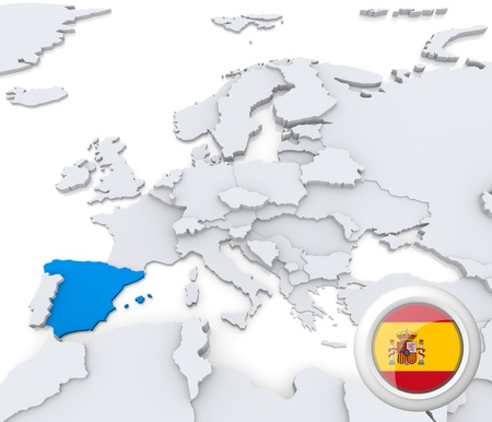 Highlighted Spain on map of europe with national flag