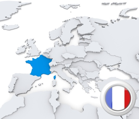 Highlighted France on map of europe with national flag
