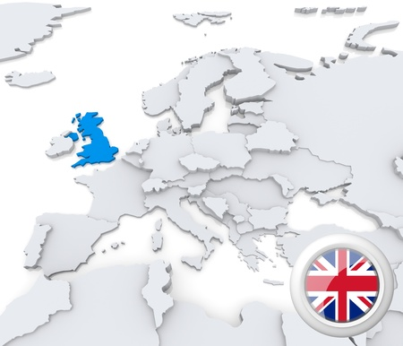 Highlighted United Kingdom on map of europe with national flag photo