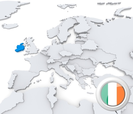 Highlighted Ireland on map of europe with national flag Stock Photo