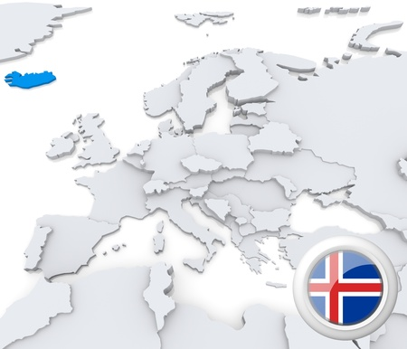 Highlighted Iceland on map of europe with national flag photo