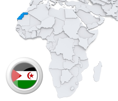 3D modeled Map of Africa with highlighted state of Western Sahara with national flag photo