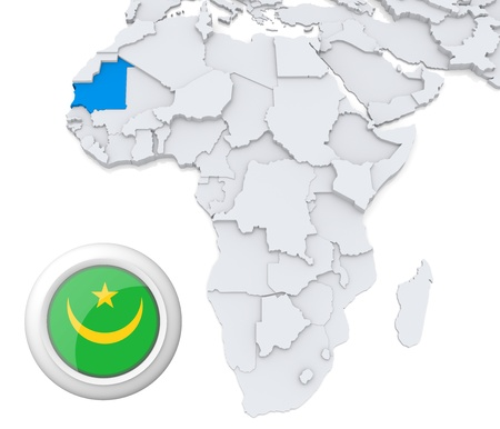 3D modeled Map of Africa with highlighted state of Mauritania with national flag photo