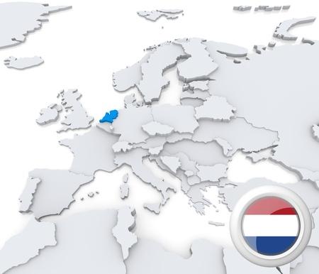 Destacada Holanda en el mapa de europa con la bandera nacional Foto de archivo - 21165829