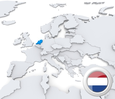 Highlighted Netherlands on map of europe with national flag photo