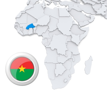 3D modeled Map of Africa with highlighted state of Burkina with national flag Foto de archivo