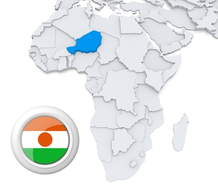 3D modeled Map of Africa with highlighted state of Niger with national flag photo