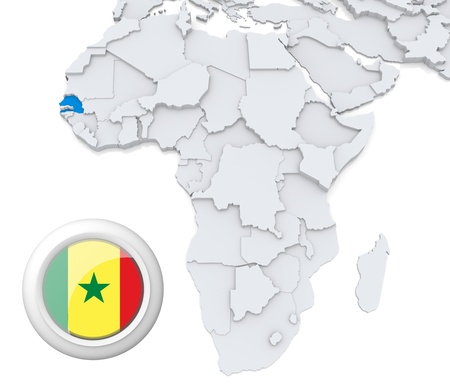 3D modeled Map of Africa with highlighted state of Senegal with national flag