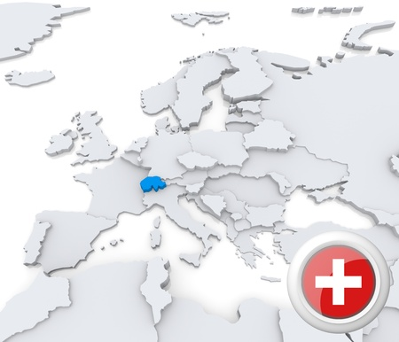 Highlighted Switzerland on map of europe with national flag