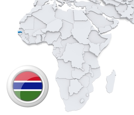 3D modeled Map of Africa with highlighted state of Gambia with national flag photo