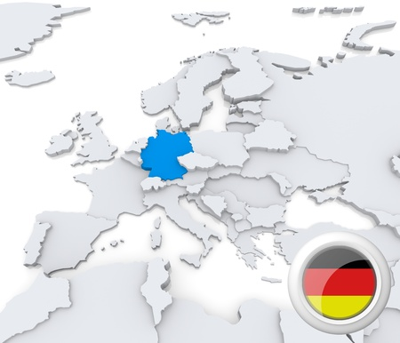 Highlighted Germany on map of europe with national flag