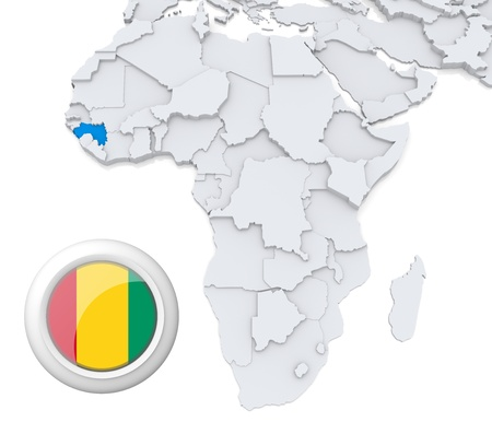 3D modeled Map of Africa with highlighted state of Guinea with national flag Foto de archivo