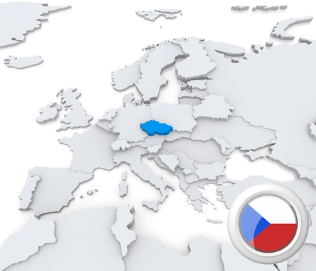 Highlighted Czech Republic on map of europe with national flag photo