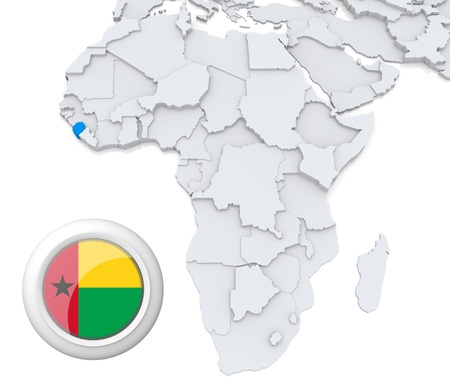 3D modeled Map of Africa with highlighted state of Guinea-Bissau with national flag photo