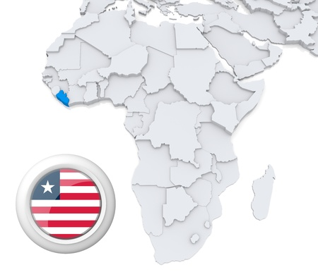 3D modeled Map of Africa with highlighted state of Liberia with national flag