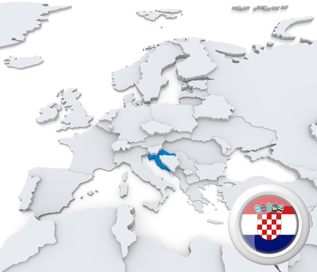 Highlighted Croatia on map of europe with national flag