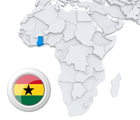 3D modeled Map of Africa with highlighted state of Ghana with national flag