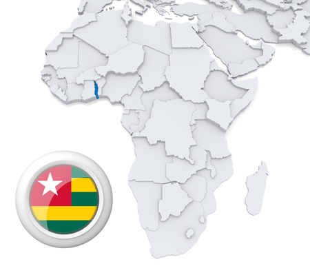 3D modeled Map of Africa with highlighted state of Togo with national flag photo