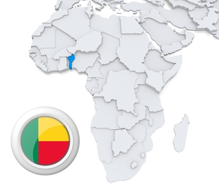cape verde flag: 3D modeled Map of Africa with highlighted state of Benin with national flag Stock Photo