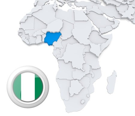 3D modeled Map of Africa with highlighted state of Nigeria with national flag