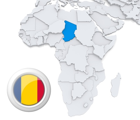 chad: 3D modeled Map of Africa with highlighted state of Chad with national flag Stock Photo