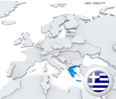 Highlighted Greece on map of europe with national flag Foto de archivo