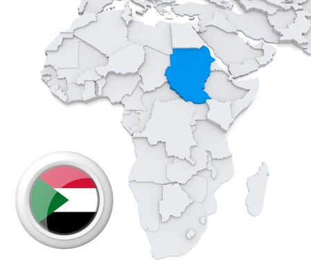 3D modeled Map of Africa with highlighted state of Sudan with national flag photo