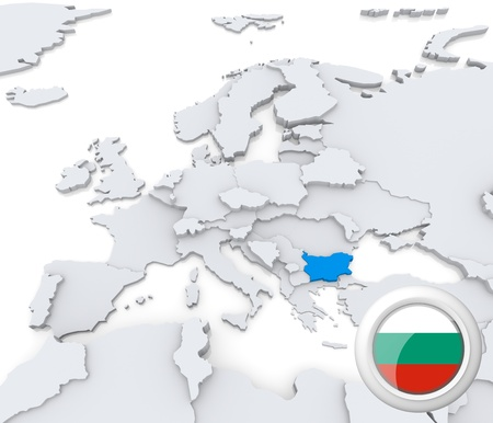 Highlighted Bulgaria on map of europe with national flag Stock Photo