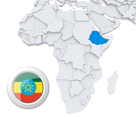 3D modeled Map of Africa with highlighted state of Ethiopia with national flag