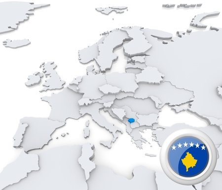Highlighted Kosovo on map of europe with national flag