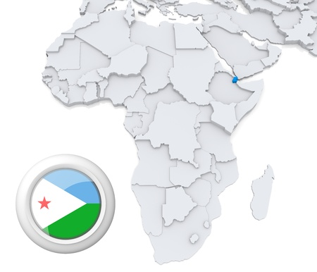 3D modeled Map of Africa with highlighted state of Djibouti with national flag Foto de archivo