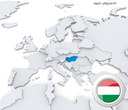 Highlighted Hungary on map of europe with national flag