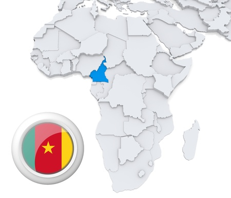 3D modeled Map of Africa with highlighted state of Cameroon with national flag