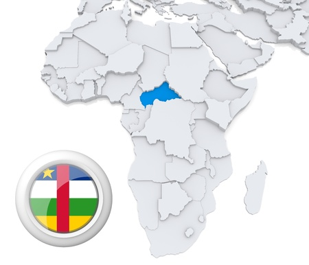 3D modeled Map of Africa with highlighted state of Central African republic with national flag photo